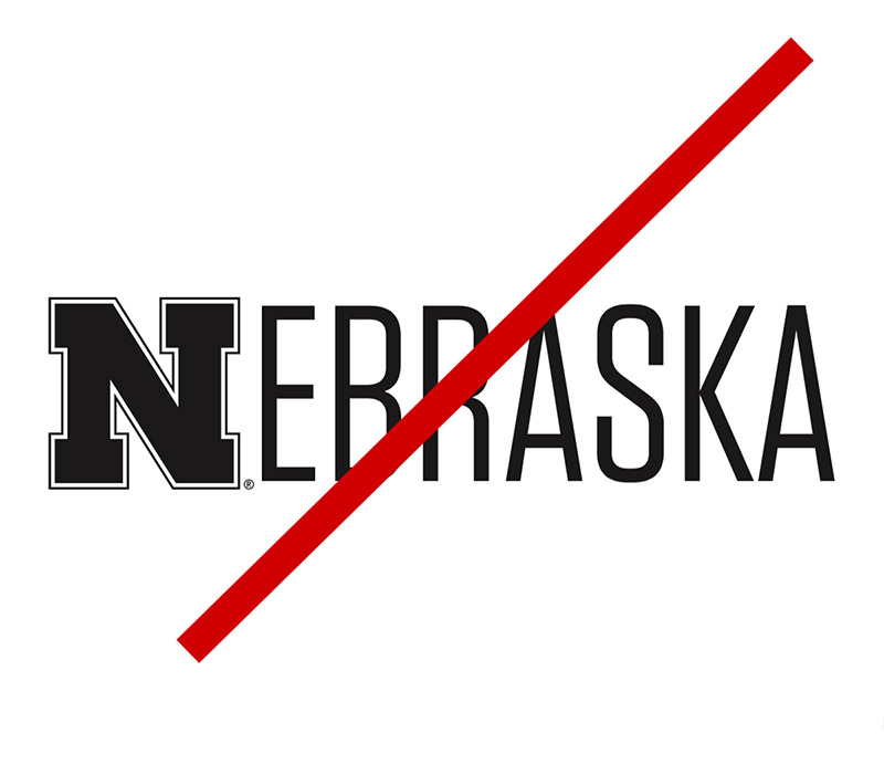 Example of not spelling out Nebraska with logo