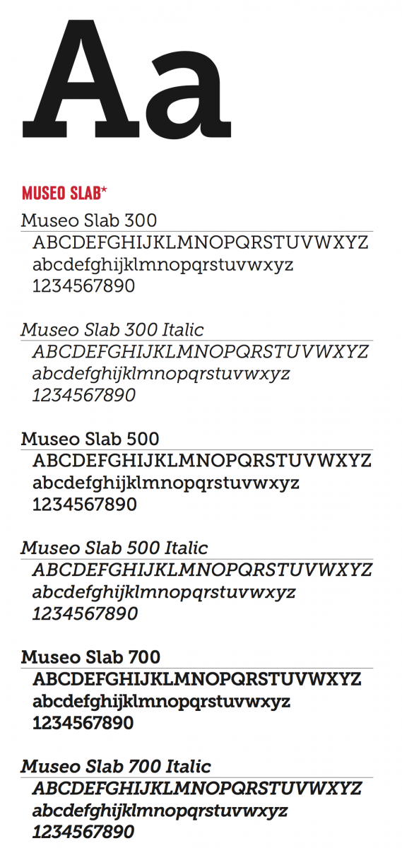 Museo Slab font examples