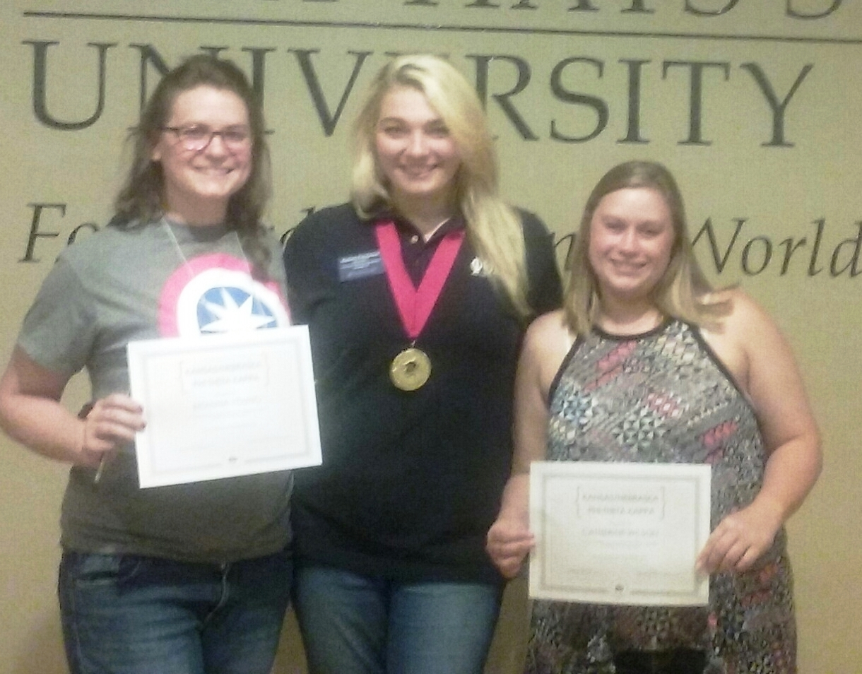 Phi Theta Kappa students Brianna Young and Katie Wilson met PTK's International Vice President Sydney Pemberton at a recent conference in Kansas. (Courtesy photo)