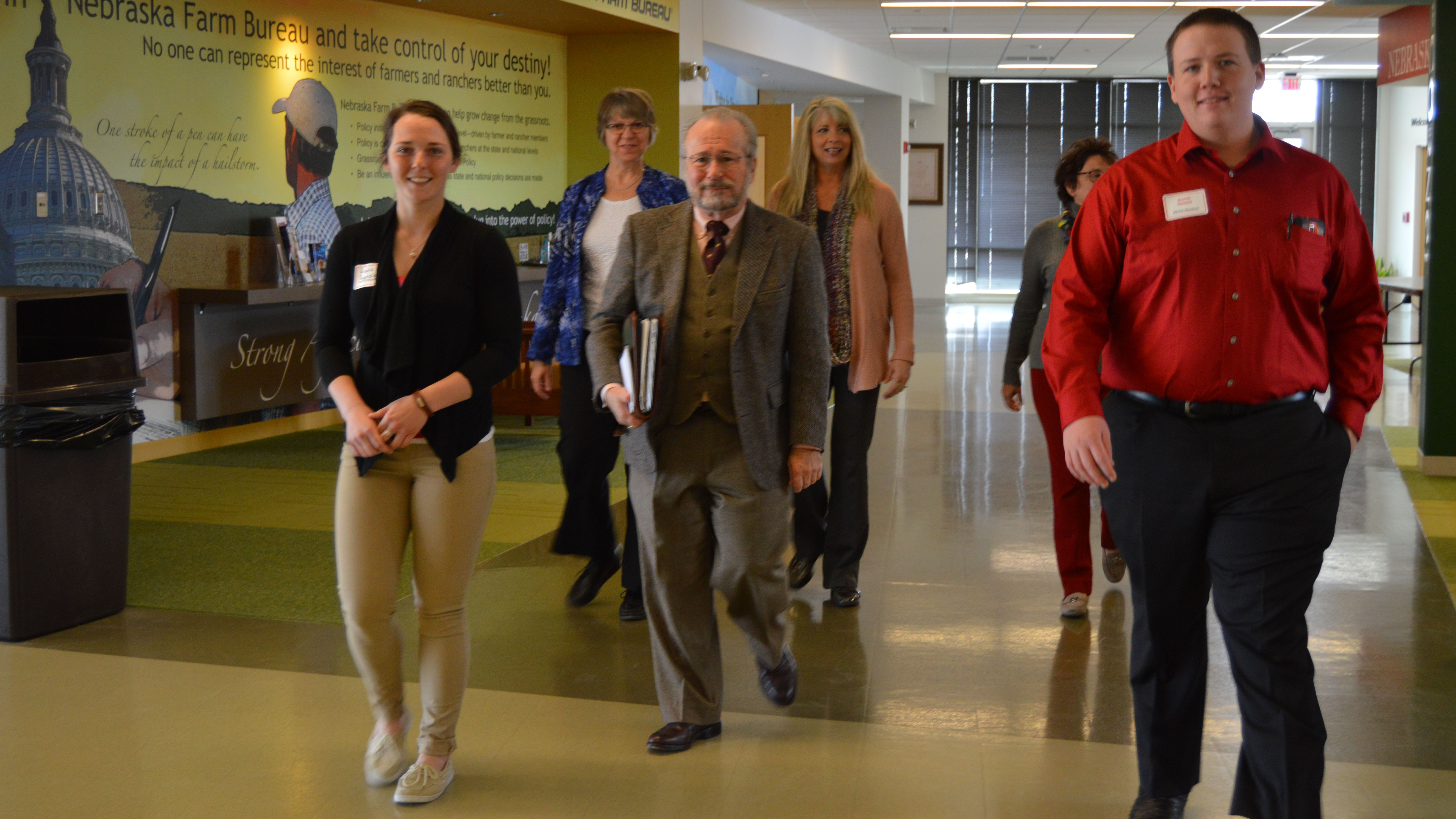 NCTA students lead four peer reviewers on a Higher Learning Commission site visit of campus in 2016. (Crawford / NCTA News photo)