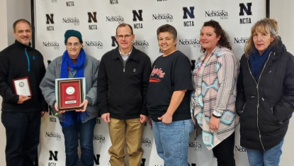 Dr. Kelly Bruns, NCTA interim dean, presented 2019 Service Awards to (from left) Eric Reed, Sandy Wills, Bruns, Cindy Fritsche, Sarah Cole and Rebecca Currie. (McConville/NCTA Photo)
