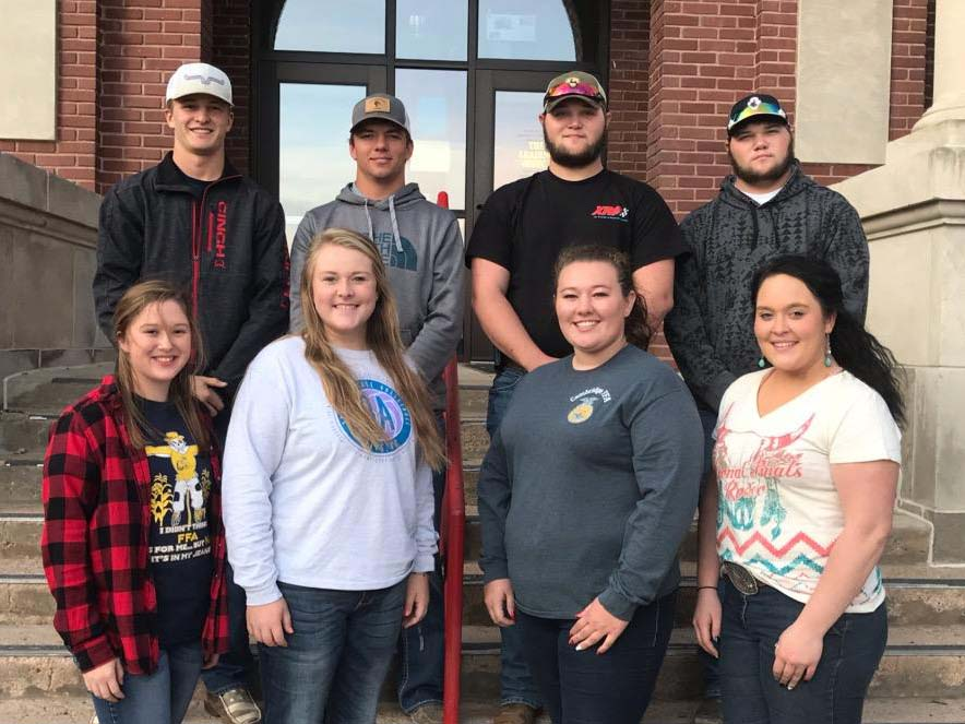 NCTA Aggie students who have earned an American FFA Degree are, top row, from left: John Lauer, Camden Wilke, Ethan Aschenbrenner and Tyler Aschenbrenner. Front, from left, Aurora Urwiler, Emily Kammerer, Kayla Mues and Audrey Heinz. Not available for the photo are Colton Bell, Camryn Evans, Jocelyn Kennicutt, Nina Parry and Brittany Pellatz. (NCTA photo)