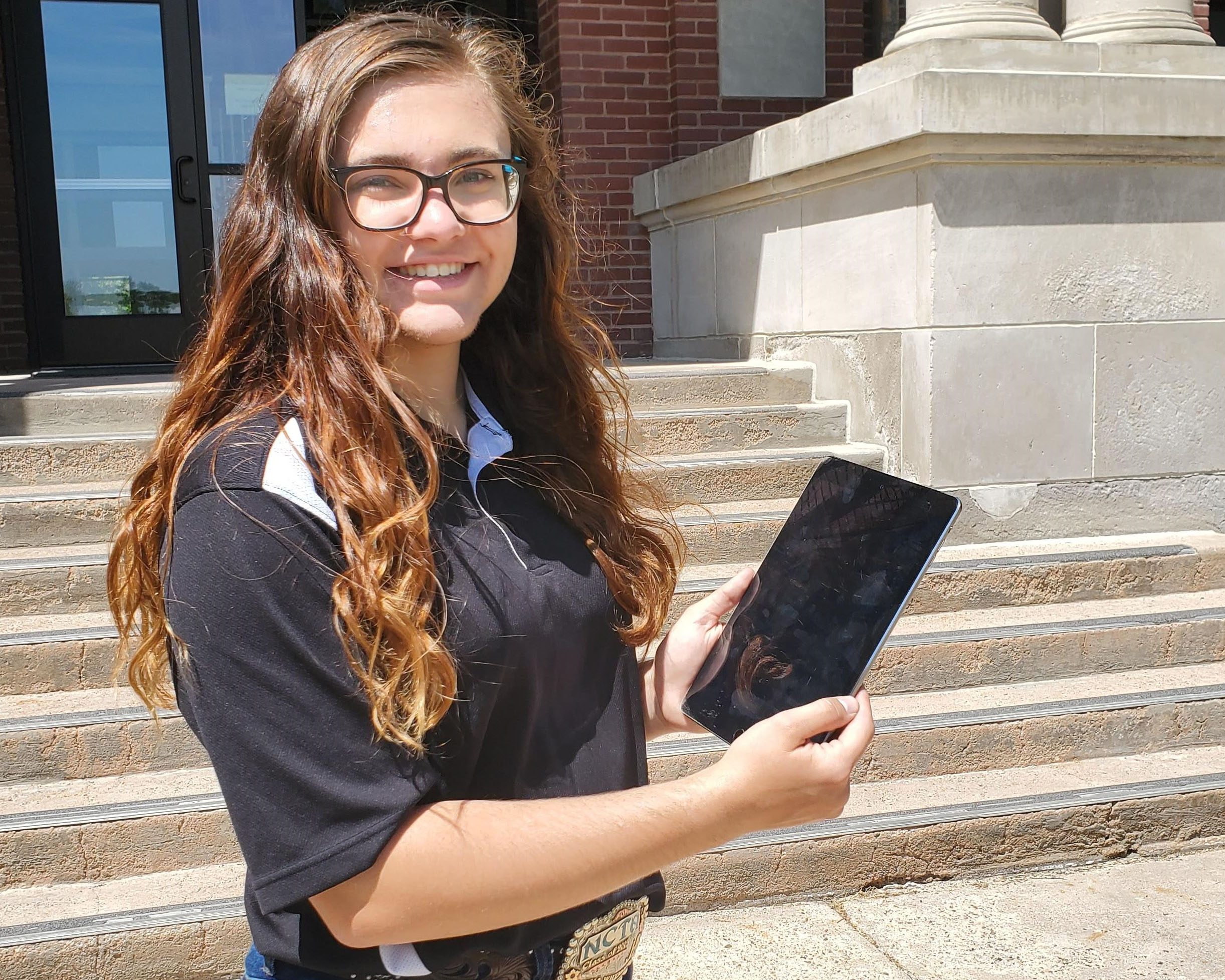 Anna Whyman, a native of Palmyra and animal science graduate, is giving virtual tours of the Nebraska College of Technical Agriculture campus plus conversations with NCTA faculty and staff. (McConville / NCTA photo)