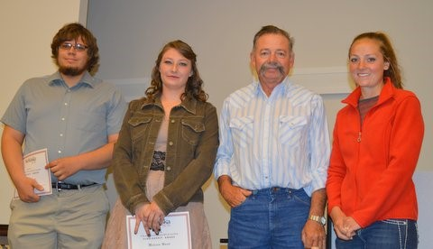 Joe Kirchner and Melissa Ward received Chandie Castle scholarships in May from Chandie's father, Randy, and sister, Amanda Castle Bookout who graduated from NCTA. (Crawford/NCTA News photo)