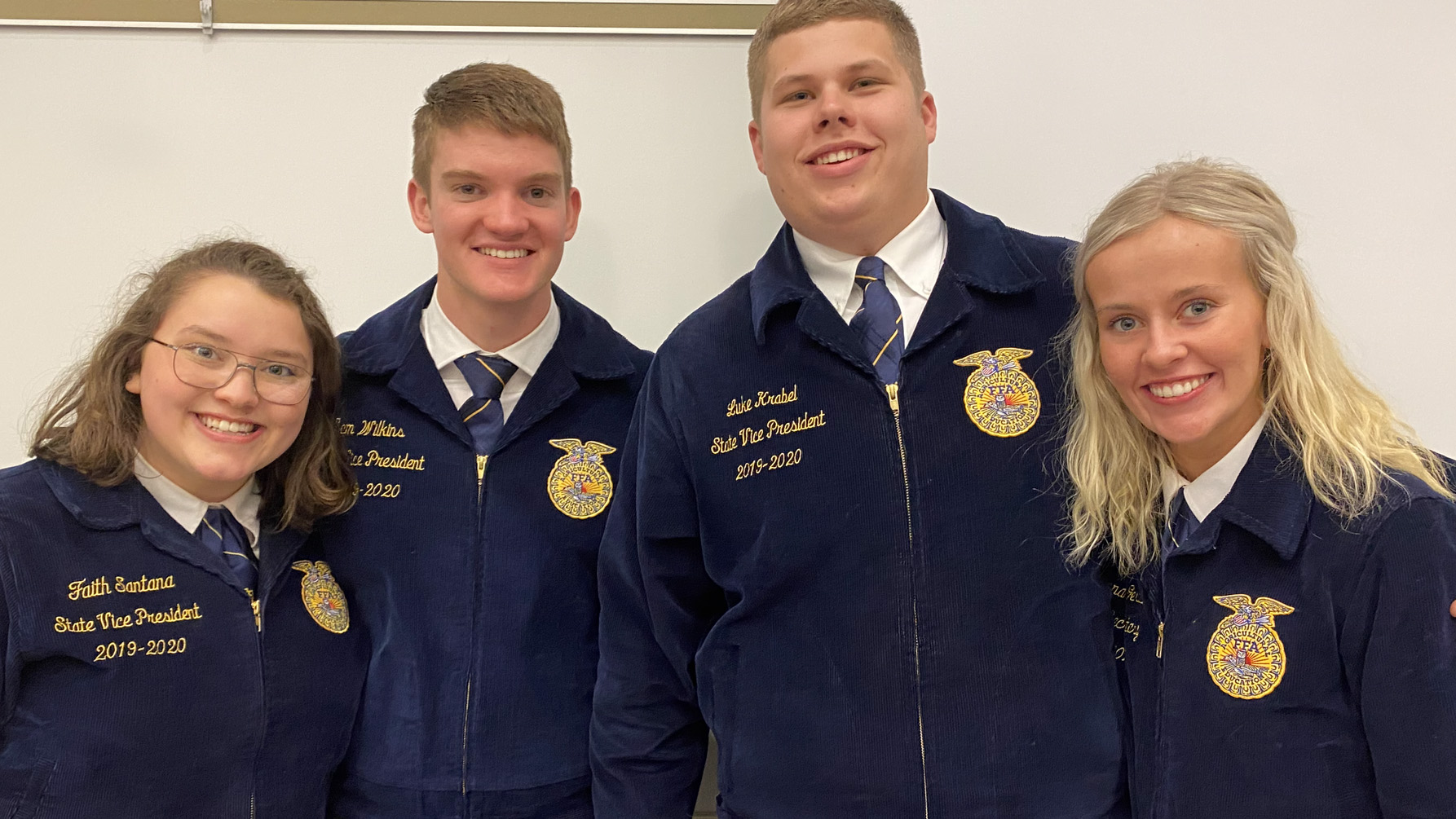 Nebraska State FFA officers, from left, Faith Santana, Sam Wilkens, Luke Krabel and Savannah Gerlach attend a District 11 FFA contest at the Nebraska College of Technical Agriculture in February. (NCTA photo)