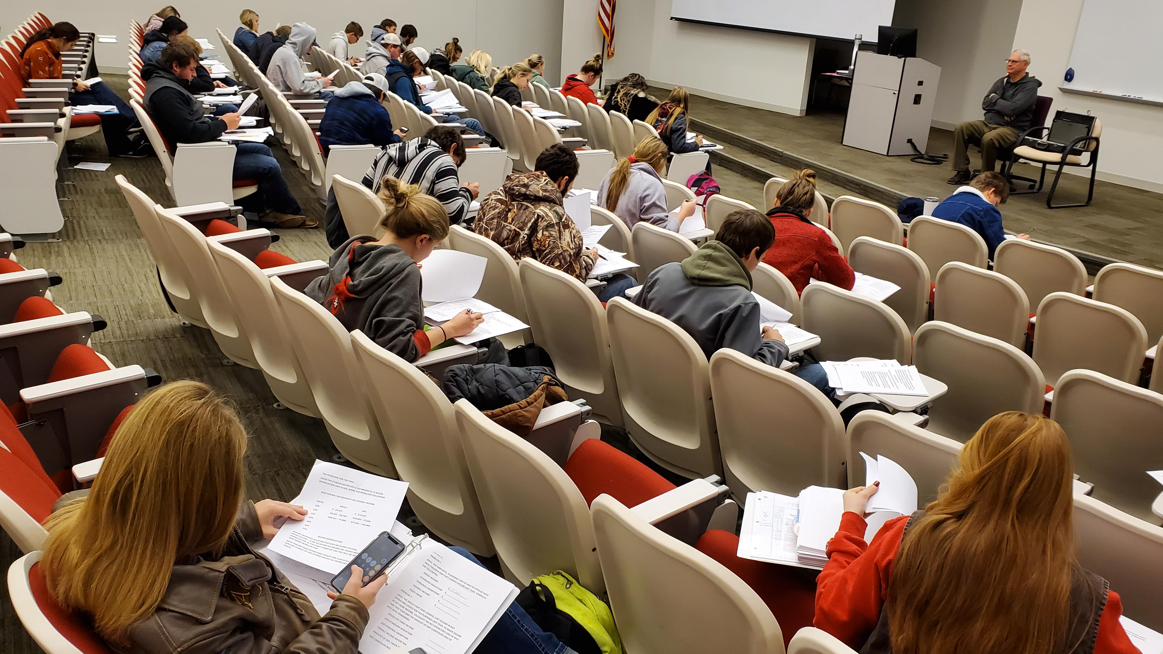 NCTA students take a final exam in an agribusiness class taught by Dave Jibben. (Crawford/NCTA News)