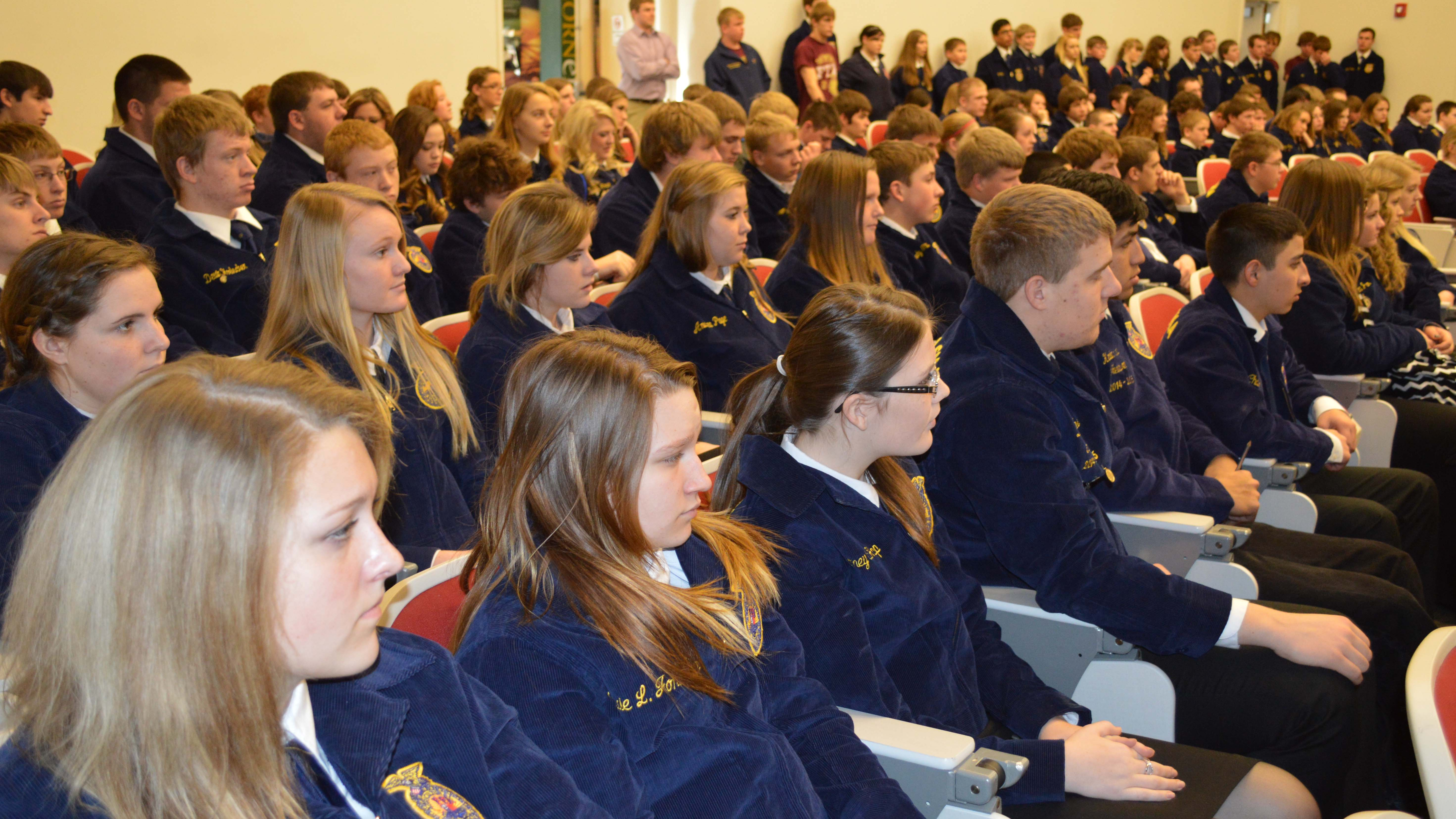 FFA students fill the auditorium during a district FFA contest at the Nebraska College of Technical Agriculture in Curtis. (NCTA News photo)