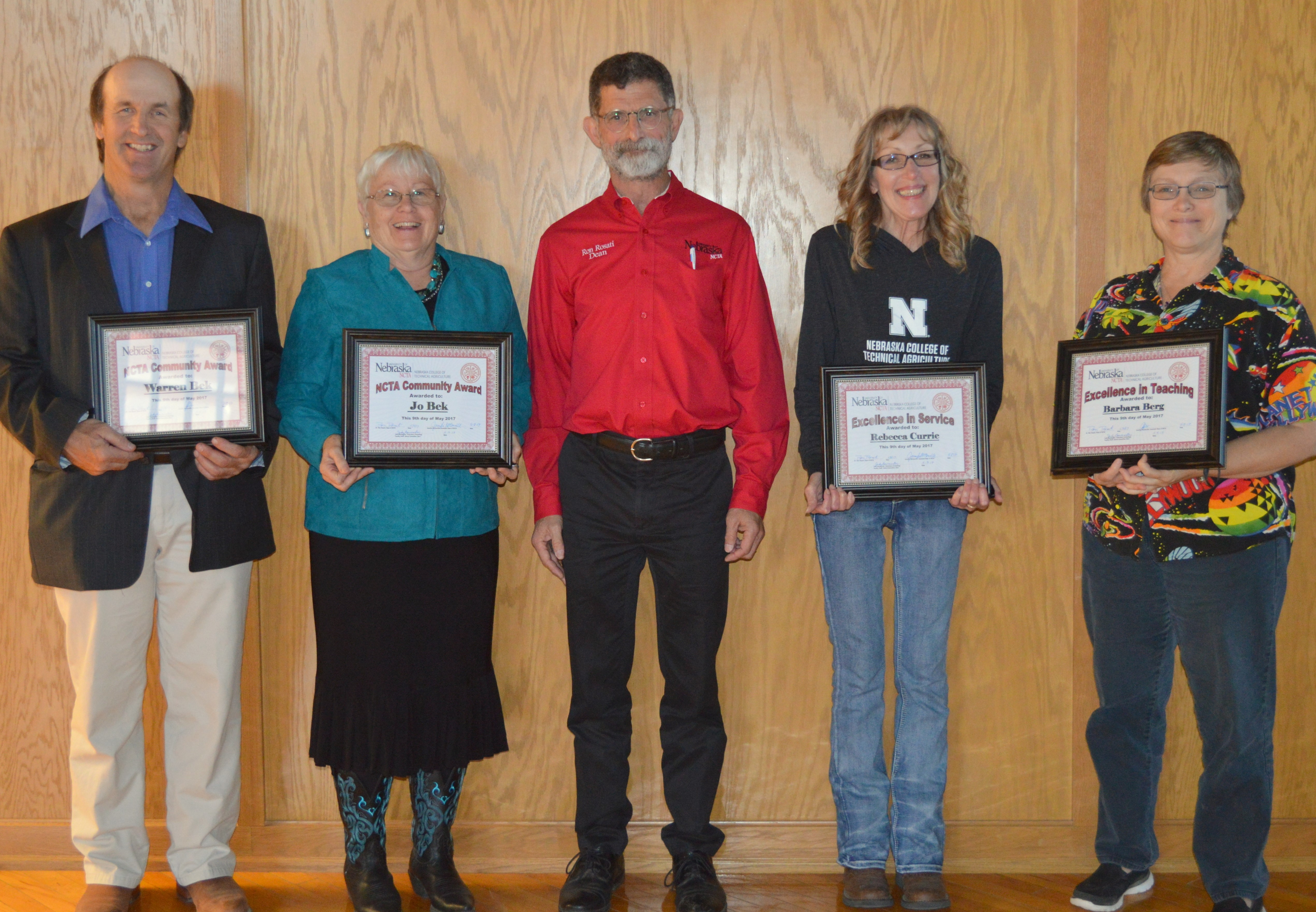 NCTA award recipients, from left, Community Service honorees Warren and Jo Bek, Dean Ron Rosati, Excellence in Service to Becky Currie, and Excellence in Teaching to Barb Berg. (Hauptman/NCTA Photo)