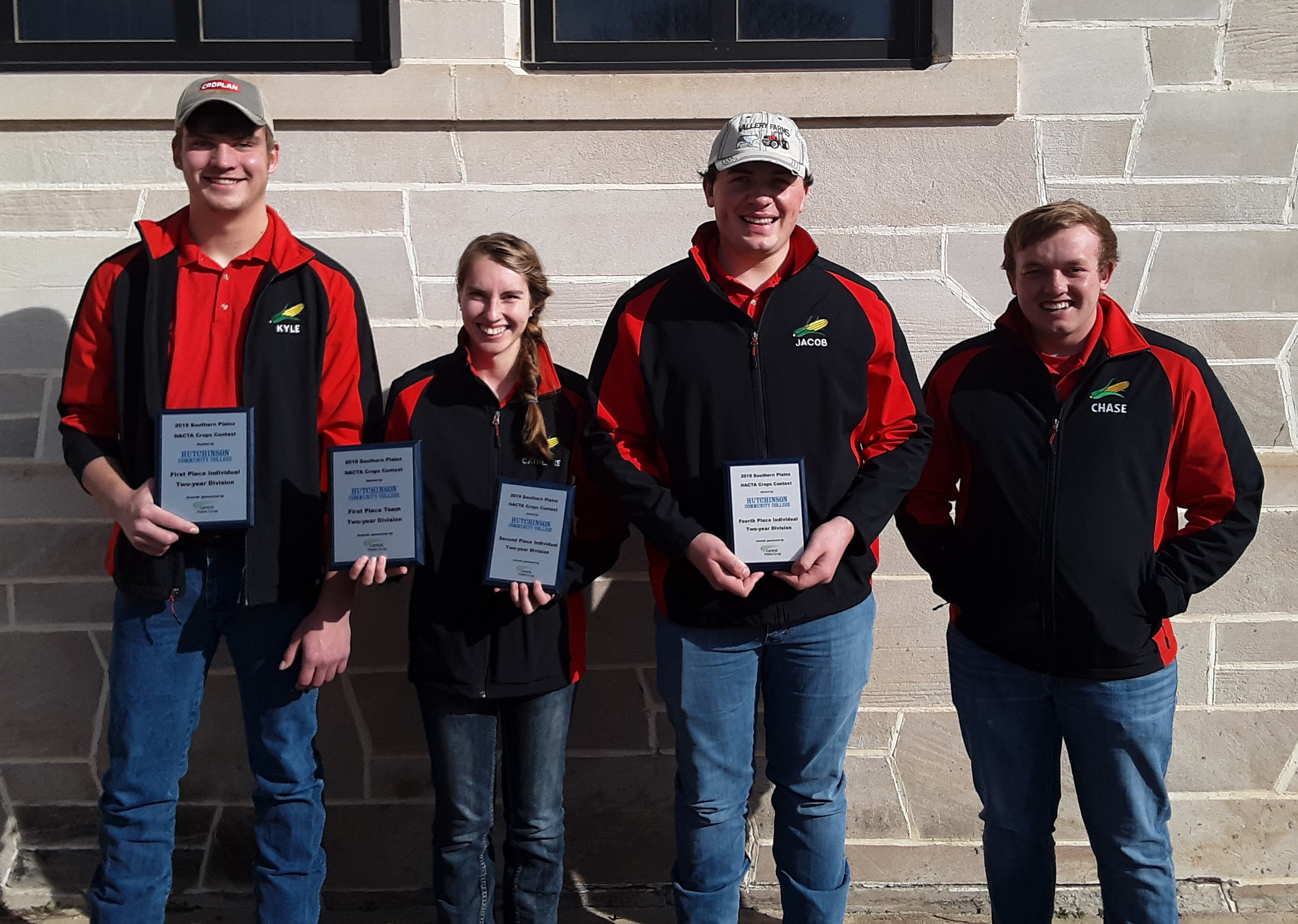 The NCTA Aggie Crops Judging Team took top honors Saturday in a contest among 2-year colleges. The team won first place and individual members ranked in the top seven placings. (From left) 1st place, Kyle Krantz, Alliance; 2nd, Catherine Lundggren, rural Hamilton County (Harvard); 4th, Jacob Vallery, Plattsmouth; and 7th, Chase Callahan, Gothenburg. (Ramsdale / NCTA Photo)