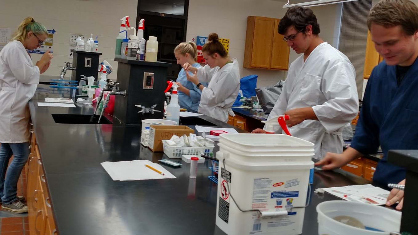 Veterinary technology students in a clinical pathology class work in the NCTA laboratory. (NCTA News photo)