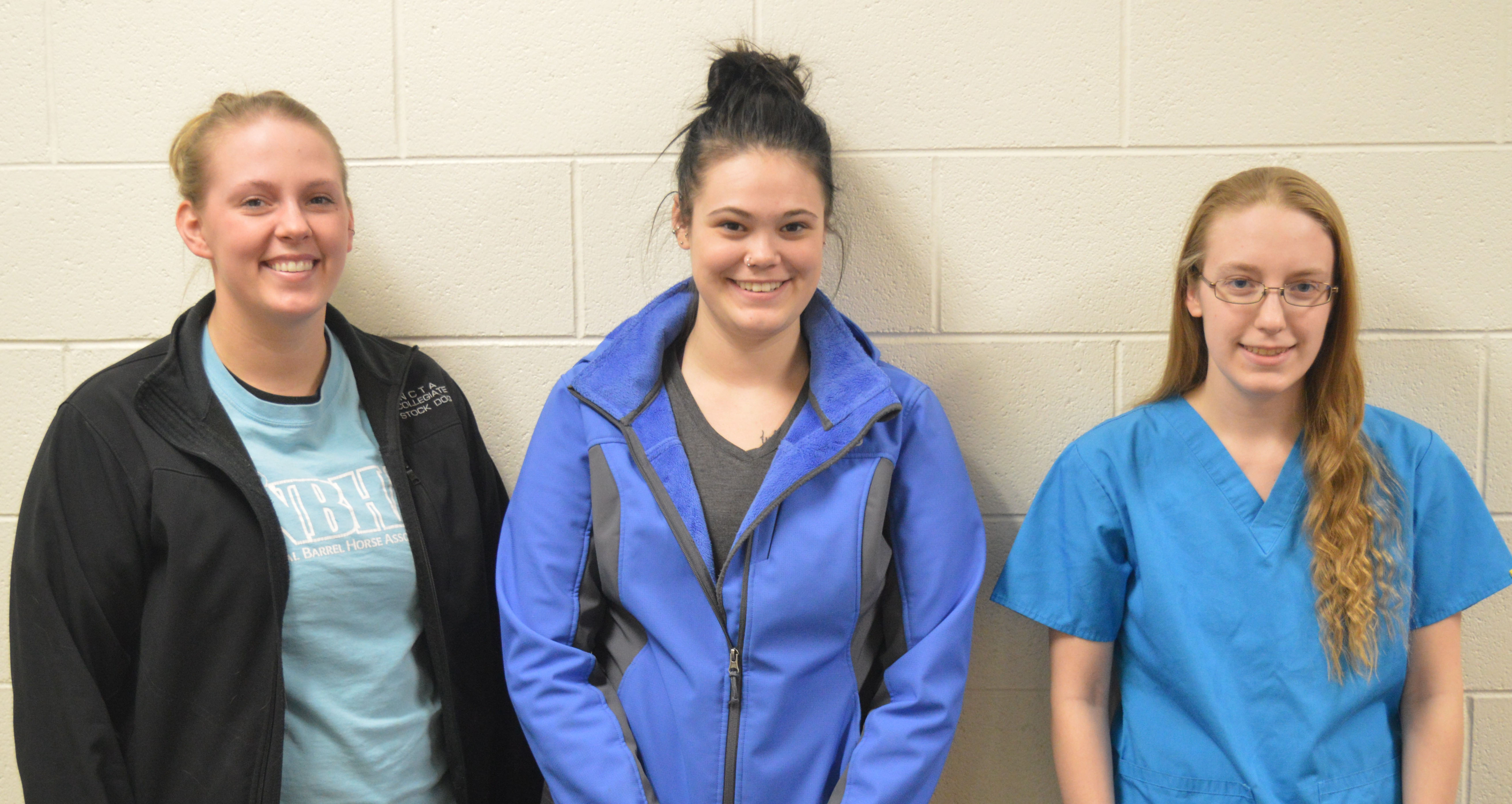 NCTA vet tech students from left, Kaitlynn Chubbuck, Sierra Bogle and Brooke Bennett, were each a recipient of a $1,000 scholarship from Lancaster County Farm Bureau members for 2017-2018. Not pictured is Baily Holt, a livestock management major. (Thomas/NCTA News photo)