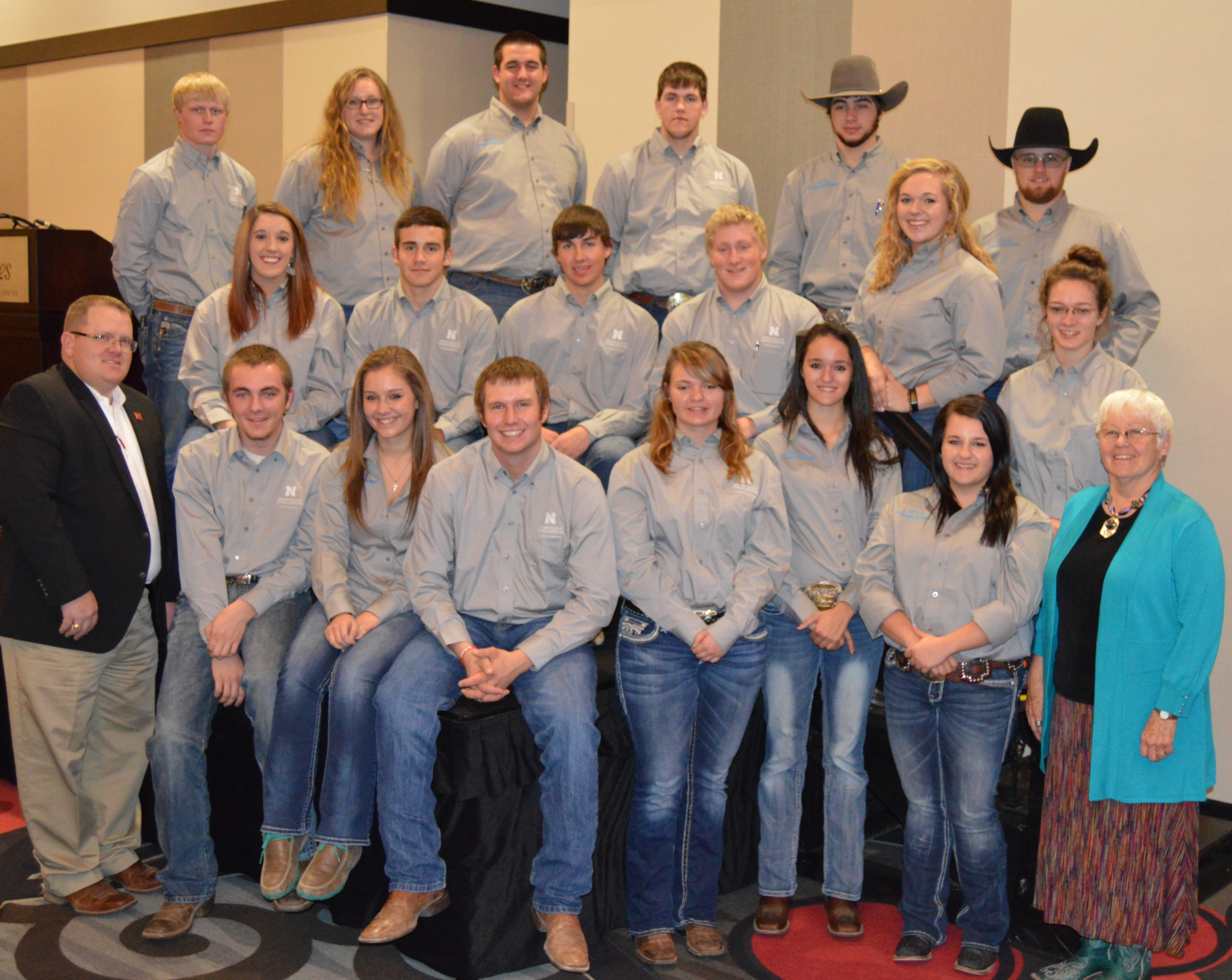 Nebraska College of Technical Agriculture animal science students and NCTA Collegiate Cattlemen attended the Nebraska Cattlemen convention with professors, Dr. Doug Smith (left) and Terri Jo Bek (right). The NC Foundation recognized the college and awarded industry awards to Smith and Bek. (Crawford/NCTA News Photo)