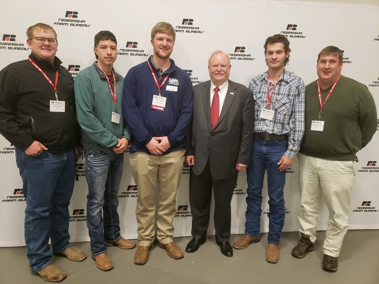 NCTA Aggie students met Farm Bureau president Steve Nelson of Axtell (third from right) on Monday. Attendees from NCTA were, from left, Jacob Jenkins, Gilberto Herrera, Clade Anderson, Tucker Hodsden and Dr. Brad Ramsdale. (Farm Bureau photo)