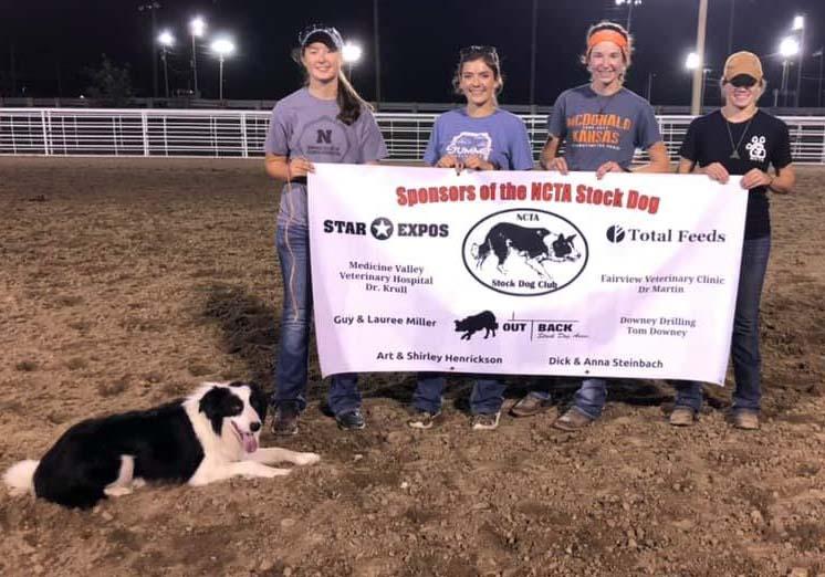 Border collie Gryff and four members of the NCTA Stock Dog Team are, from left: Breauna Derr of Friend, Emily Hubbell of Lexington, Alexandra Hazuka of McDonald, Kansas, and Kaytie Henrickson of Norton. (NCTA photo)