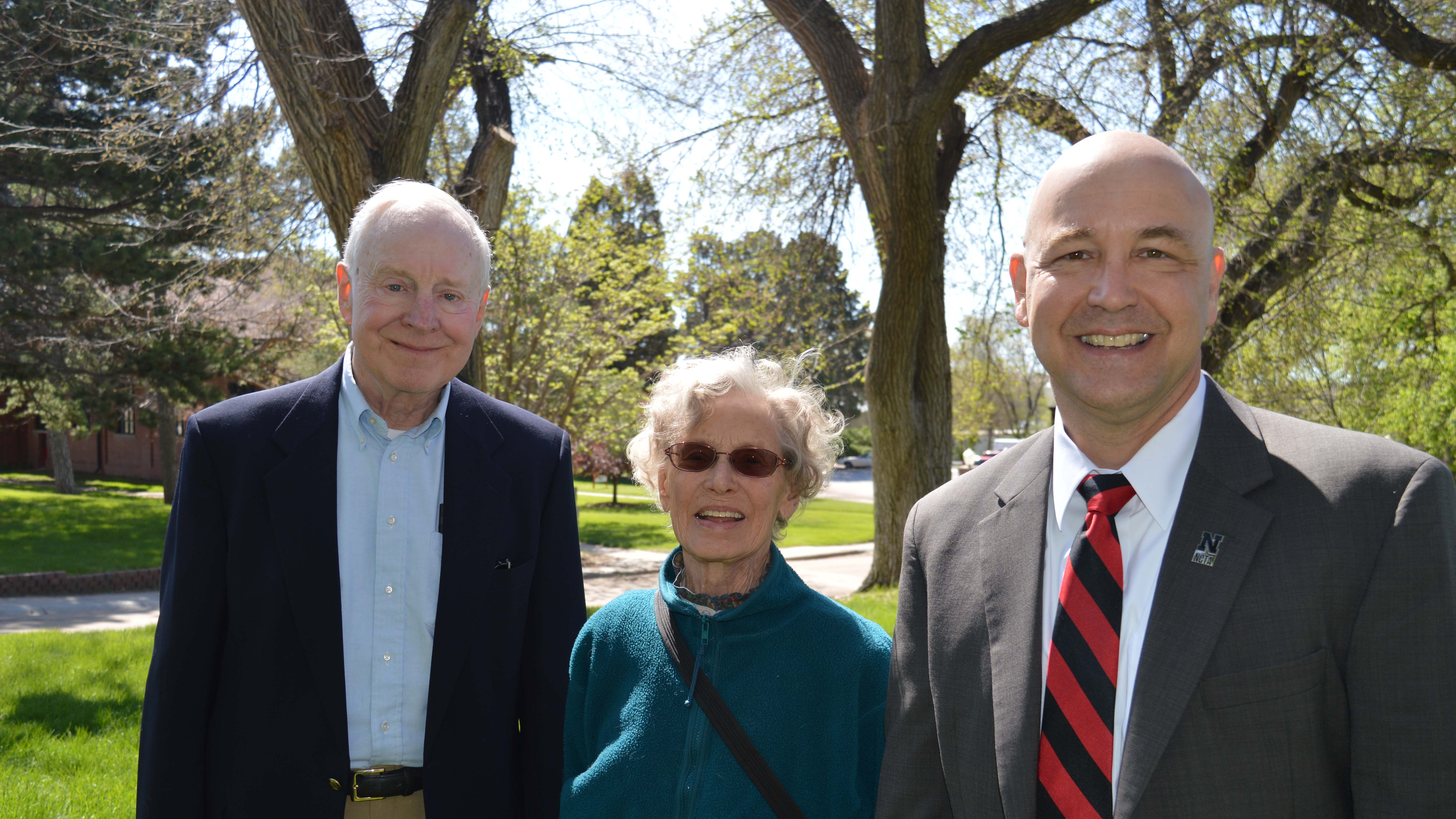 David and Sande Scholz, then of Salida, Colo., attended graduation at the Nebraska College of Technical Agriculture in 2017. They greeted NU Vice President Mike Boehm at Ag Hall. Sande's vision was to give her family ranch to NCTA's educational mission. (Mary Crawford / NCTA News photo)