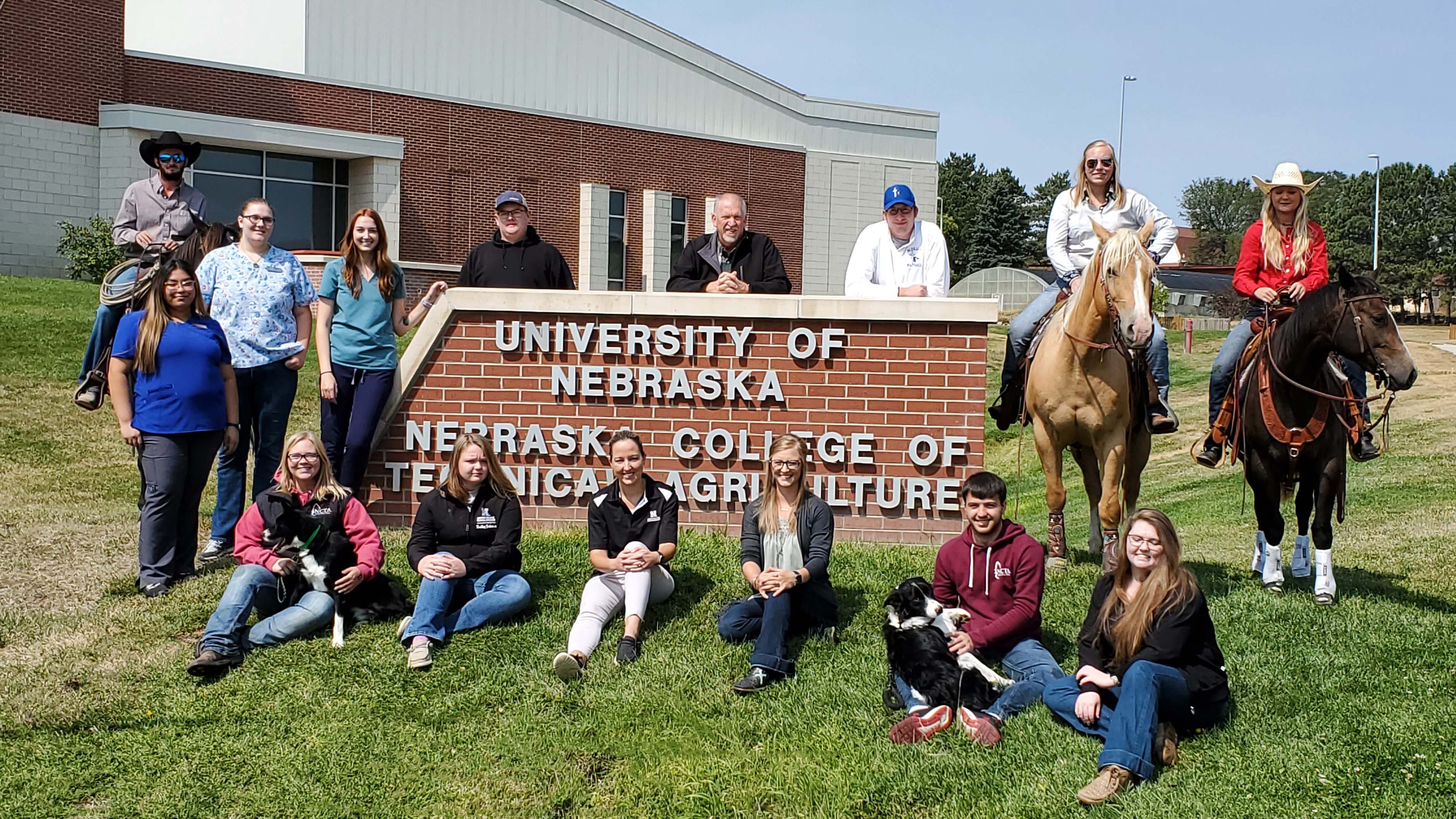 Aggies join NCTA Dean Larry Gossen (standing center) in representing students, staff and campus organizations on a sunny day in early September. Gossen this week announced academic honors for the 2020 fall semester. (Crawford / NCTA News photo)