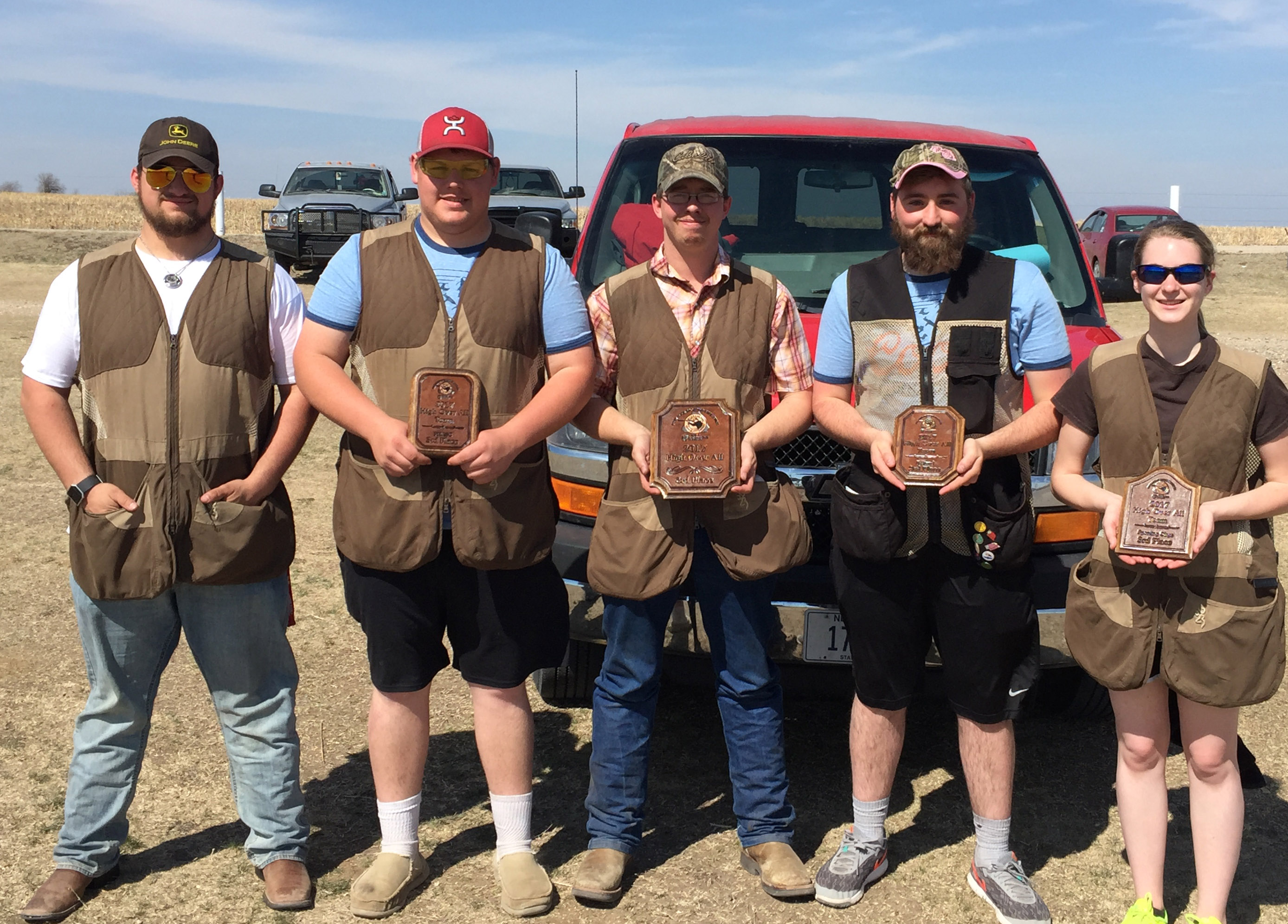 NCTA Aggie Shooting Sports team won third place overall team on Saturday in a match at Salina, Kansas. From left, are Jon Hertz, Allen Matejka, Stetson Youel, Shawn Barger, and Rilee VanDonge. (Taylor/NCTA Photo)