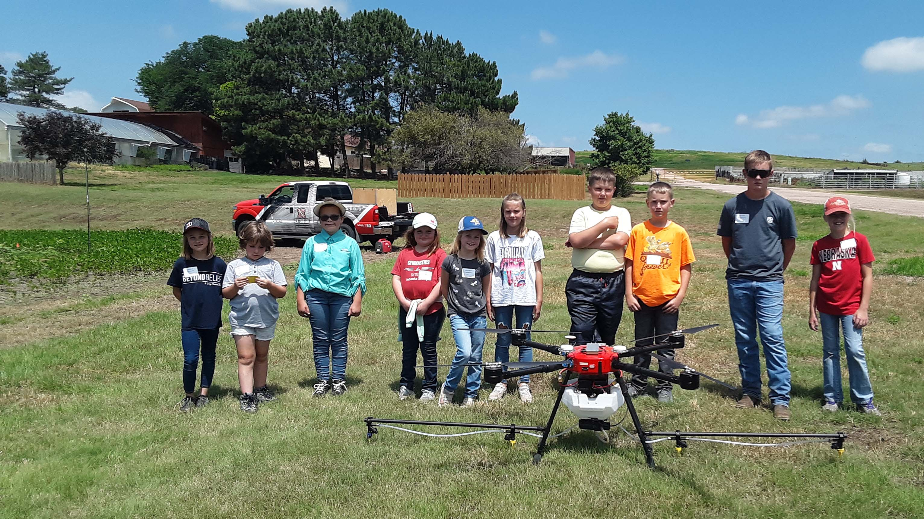 Youngsters ages 9 to 11 years learned how a drone can apply pesticides to crops at the 2021 Agronomy Youth Field Day at NCTA. (Photo by B. Ramsdale / NCTA)