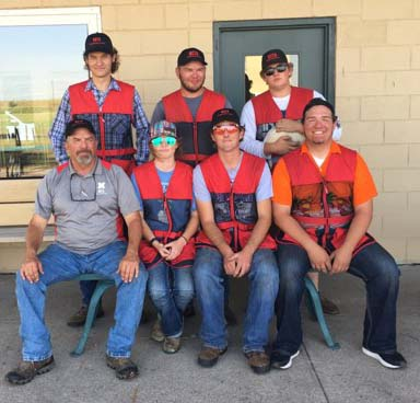 The NCTA Aggies Shotgun Sports Team recently hosted the Prairie Circuit Conference meet near North Platte. Standing, from left, are Tucker Hodsden, Lyman; David Jelkin, Hastings; Trevor Kuhn, Omaha. Seated Coach Alan Taylor, Kaylee Rasmussen, Burwell; Colby Mitchell, Burwell; and Scott Taylor, Curtis. (NCTA photo)