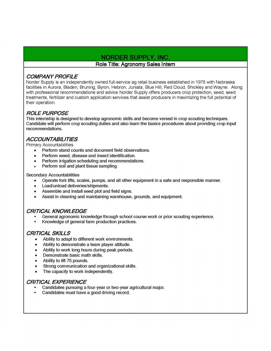 Agronomy Sales Intern | Nebraska College of Technical Agriculture in