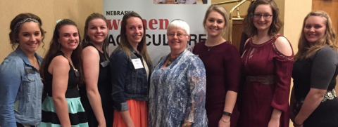 The Nebraska College of Technical Agriculture partyicipated in the 2017 Women in Ag conference in Kearney. NCTA attendees were, from left, Alyssa Nowicki, Jordan Bayliss, Courtney Allen, Alyssa Novak, Professor Jo Bek, Jayde Hessler, Rachel Dather and Maggie Brunmeier. (Courtesy photo)