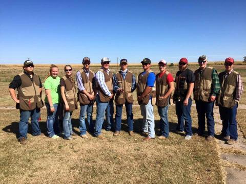 NCTA Aggies Trap Team won junior college division of the Prairie Circuit Classic in North Platte. Team members (from left) are Trevor Kuhn, Omaha; Carli Johnson, Hastings; Rilee VanDonge, Holton, Kan.; Thomas Hennig, Tekamah; Allen Matejka, Loomis; Stetson Youel, Hay Springs; Jonathan Herz, Alma; Tyler Heidemann, Daykin; Shawn Barger, Wahoo; Tucker Dehmlow, Centennial, Colo., and Alan Rooney, Brewster. (NCTA Photo)