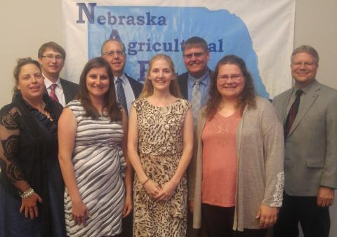 College alumni teaching in Nebraska high schools include, front row, from left, Dana (Bailey) Hall, McCool Junction; Evey Choat, Laurel-Concord-Coleridge; Siera Meyer, Bruning-Davenport; and Kara Reimers, Anselmo-Merna. Back row, from left, Wade Overturf, Wisner-Pilger; Craig Frederick, Seward; Phil Simpson, Burwell; and Randy Vlasin, Hayes Center. (Courtesy photo)