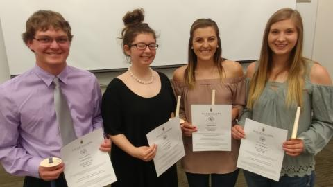 Phi Theta Kappa academic honorary features Dean's List and Honor Roll students. The 2018-19 PTK officers, from left, are Peyton McCord, vice president; Dorothy Fulton, president; Baleigh Miller, student senate, and Kendra Marxsen, historian. Not pictured are Leighlynn Obermiller, secretary, and Shayla Woracek, student senate. All six were named to the NCTA Dean's List or Honor Roll this spring. (Mary Crawford/NCTA Photo)