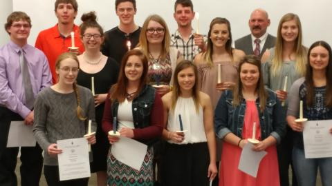 NCTA students installed in PTK are, front row, Brooke Bennett, Sadie Christensen, Colbey Luebbe, Paige Twohig, and Shayla Woracek. Middle row, Peyton McCord, Dorothy Fulton, Bridget Jackson, Baleigh Miller, and Kendra Marxsen. Third row, Lee Jespersen, Jesse Orr, Trevin Likens and Scott Smith. (Mary Crawford/NCTA Photo)