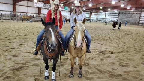 Academic majors can lead to competition teams for NCTA Aggies. Friends Addison Villwok and Annie Bassett competed on the Ranch Horse Team last year. Their college careers started with application made to NCTA when they were high school seniors at Randolph and Gothenburg, respectively. (Crawford / NCTA News photo)