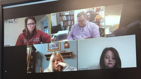 NCTA Agriculture Education students meet remotely for class Tuesday morning with their professor, Doug Smith, as he works from office at NCTA.