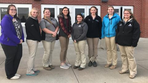 Some NCTA students at the Agricultural Education Fall Conference, from left, Haley Farr, Katrina Clay, Karlee Johnson, Jentrie Maurer, Paige Twohig, Kaylee Hostler, Chantelle Schulz, and Claire Schmidt. (Courtesy photo)