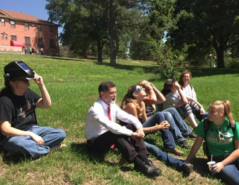 NCTA Dean Ron Rosati on campus on Monday, the first day of fall classes, with students preparing to view the 2017 solar eclipse. (Photo by Tina Smith/NCTA)