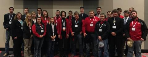 NCTA Collegiate Cattlemen and Livestock Judging Team members are shown with Joan Ruskamp (front row, fifth from left), UNSTA alumna and chairman of the national Cattleman's Beef Board. (Doug Smith/NCTA Photo)