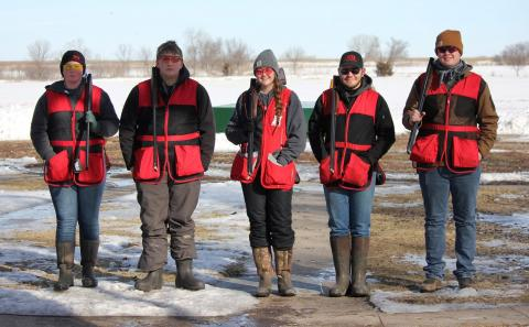 NCTA Aggies braved cold, wintry conditions Saturday at the Lincoln Skeet & Trap Club, from left, Kaylee Hostler, Central City; Trevor Kuhn, Omaha; Angela Crouse, Haigler; David Jelken, Juniata; and Chase Stanley, Shickley. (Jody Crouse photo)