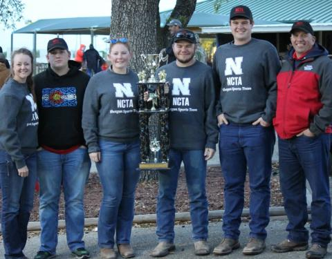 The NCTA Aggie Shooting Sports team, from left, Angela Crouse, Trevor Kuhn, Kaylee Hostler, David Jelken, Chase Stanley, and Coach Alan Taylor. (Jody Crouse photo)