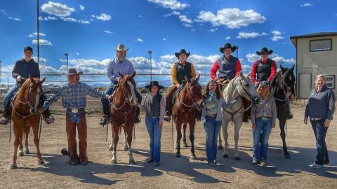 NCTA Ranch Horse Team members at Elbert, Colo., from left, Gwen Olberding, Ayden Long, Jack Berggren, Kirstin Cawthra, Devry Bellomy, Emma Yarolimek, Cauy Bennett, Paige Stamper, Jessica Burghardt and Coach Joanna Hergenreder. (Ranch Horse Team photo).