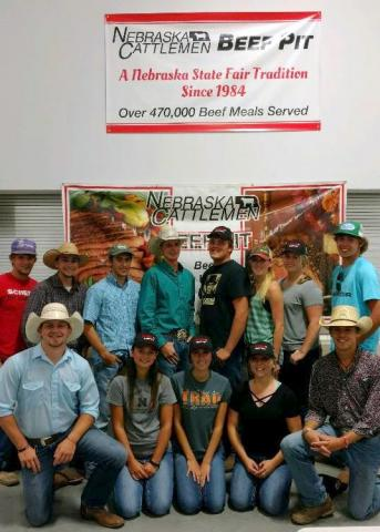 NCTA Aggies who served at the State Fair Beef Pit, front row, from left, Cole Fiene, Shayla Woracek, Nicole Ackland, Carlee Stutz and Damian Wellman. Back row, from left, Cole McDonald, Cade Francis, Dalton Keller, Garison Fisher, Peyton Grote, Sarah Fitzgerald, Lennae Eisenmenger and Jeremiah Tate. (Bek/NCTA)