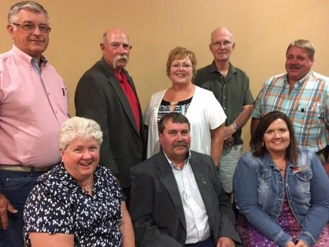 The 2017-2019 Aggie Alumni Association officers and board members were named at the annual banquet in Broken Bow. Seated, from left, President-elect Ann Bruntz, Friend; President Dave Mehaffey, Bellwood; Secretary Catherine Potter Hauptman, Curtis; Standing, from left, David Bruntz, Friend; Dan Stehlik, Kim Bowers Mortensen and Jerry Sundquist, all of Curtis, and David May, Bennett. (Crawford/NCTA News photo)