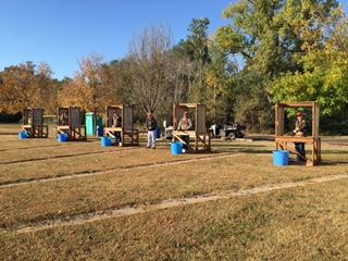 Aggie Shooting Sports competitors participate in a 5-stand match. (Alan Taylor photo)