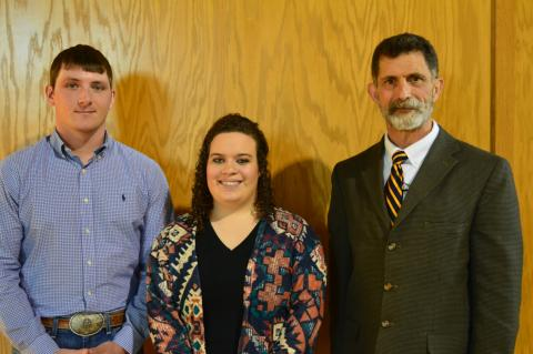 NCTA Regents Scholars Calvin DeVries of Fairfield and Haley Rogers of Lexington receive congratulations from NCTA Dean Ron Rosati. The pair graduate from NCTA May 5 and go on to UNL next fall. (NCTA News photo)