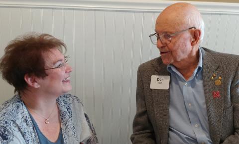 Don Roth, NSA, '39, meets Joni Taylor Petersen, UNSTA, '87 at an alumni reception in Chadron. (NCTA Photo)