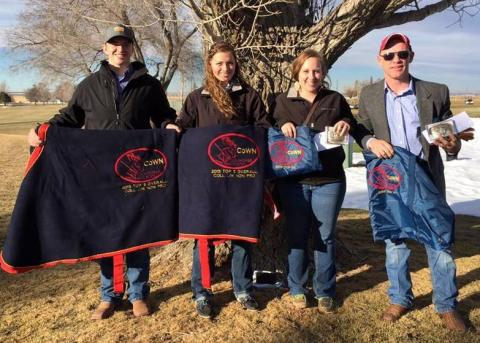 NCTA Ranch Horse team winners from Curtis, Nebraska, with 2015 Colorado-Wyoming-Nebraska Stock Horse Association year-end awards presented last weekend are, from left Drake Johnson, Thurston; Hanna Christenson, Ord; Makala Forsythe, Garland,and Patrick Zochol, NCTA alumnus of Bennington. (J. Hergender/NCTA photo)