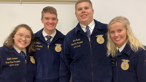 Nebraska State FFA officers attended a District 11 FFA contest in January at the Nebraska College of Technical Agriculture. (Photo by Annie Bassett / NCTA)