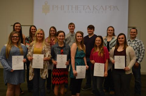 Inductees of Phi Theta Kappa at the Nebraska College of Technical Agriculture, Curtis at a ceremony on Wednesday, included front, from left: Karlee Johnson, Jessica Schumacher, Emily Bauer, Hannah Hale, Cassie Bratton, and Bailey Hinrichs. Back row, from left, Jentrie Maurer, Kourtney Monheiser, Sheila Reichmuth, Wade Vallery, Dalon Koubek, Courtney Leach, and Kristian Seberger. (Crawford/NCTA Photo)