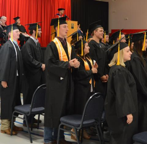 University Vice President Mike Boehm asks graduates at the Nebraska College of Techical Agriculture commencement on Thursday to acknowledge those who encouraged them toward academic and career goals. (C. Hauptman / NCTA photo)