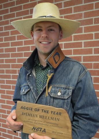 Damiann Wellman of Prairie View, Kansas, was named the 2019 Aggie of the Year. He is a livestock management major. (Crawford/NCTA News)