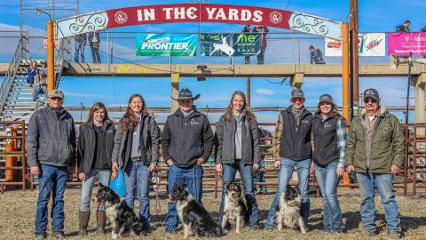 Outback Stock Association leaders and NCTA coaches Kelly Popp of Curtis, far left, and Eddie Merritt of Wellfleet, far right, gather at the National Western Stock Show in Denver with NCTA students Kaytie Henrickson, Breauna Derr, CJ Monheiser, Joli Brown, Alexandra Hazuka, and Emily Hubbell. (Courtesy photo by XP Ranch Photography)