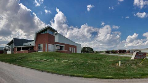 A panoramic view of the Nebraska Agriculture Industry Education Center is the cornstone to welcome visitors to the southeast entrance of campus. (A.Taylor / NCTA Photo)