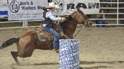 Aggie Ellie Stohlmann competed in barrel racing at collegiate rodeos this fall including at the North Platte Stampede in September. (George Hipple photo for NCTA)